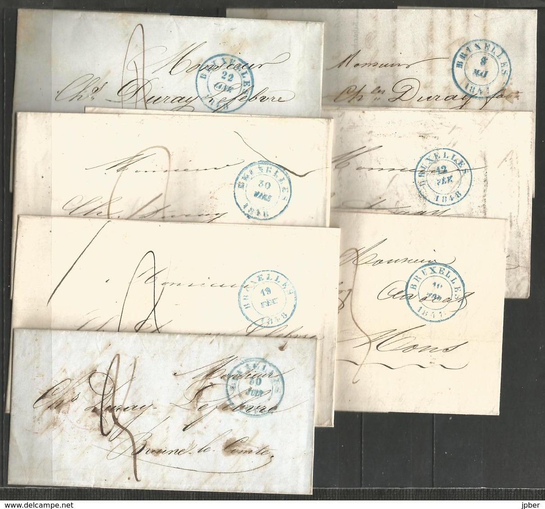 (D172) 13 Lettres De Bruxelles (càd Type B.1.4) Vers Braine-le-Comte - 1830-1849 (Belgique Indépendante)