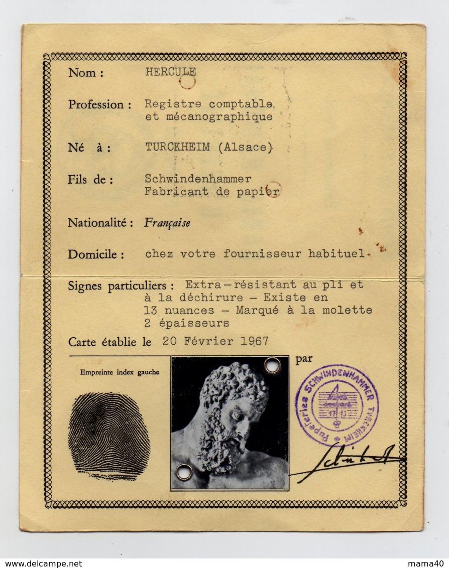 CARTE NATIONALE D'IDENTITE PUBLICITAIRE - PAPETERIES SCHWINDENHAMMER - 68 - TURCKHEIM - NOM PHOTO D'HERCULE MYTHOLOGIE - Publicités