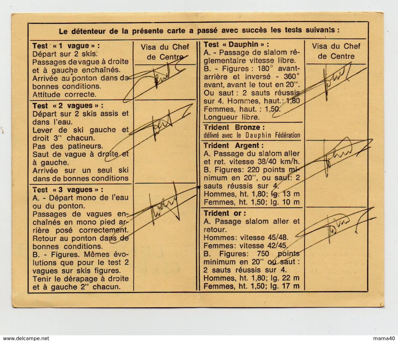 CARTE NOMINATIVE - CLUB MEDITERRANEE - SPORT -  SKI NAUTIQUE - CARNET DE CLASSEMENT - Vieux Papiers