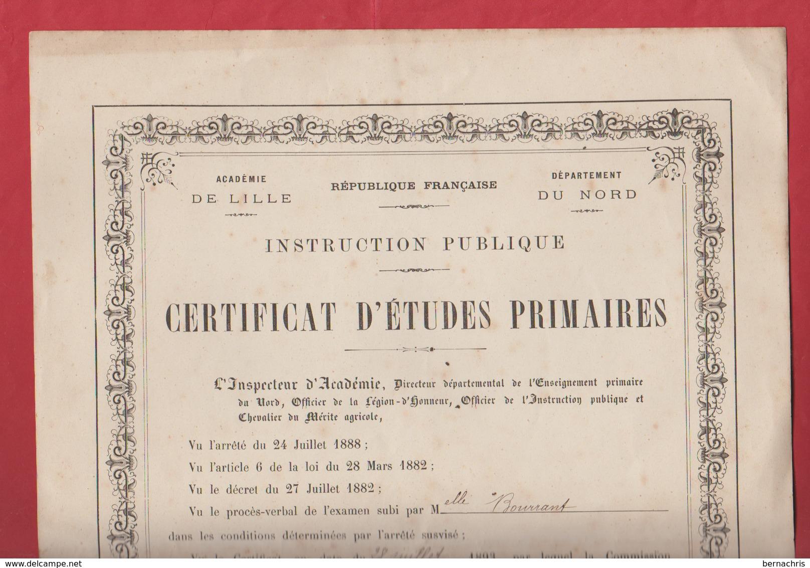 Certificat D'études Primaires Daté De 1893 - Diplômes & Bulletins Scolaires