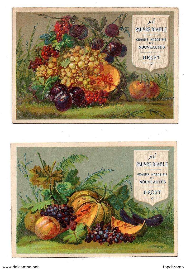 CHROMO Au Pauvre Diable Brest Calendrier 1879 Fruits Raisin Prunes Pêches Melon (2 Chromos) - Autres