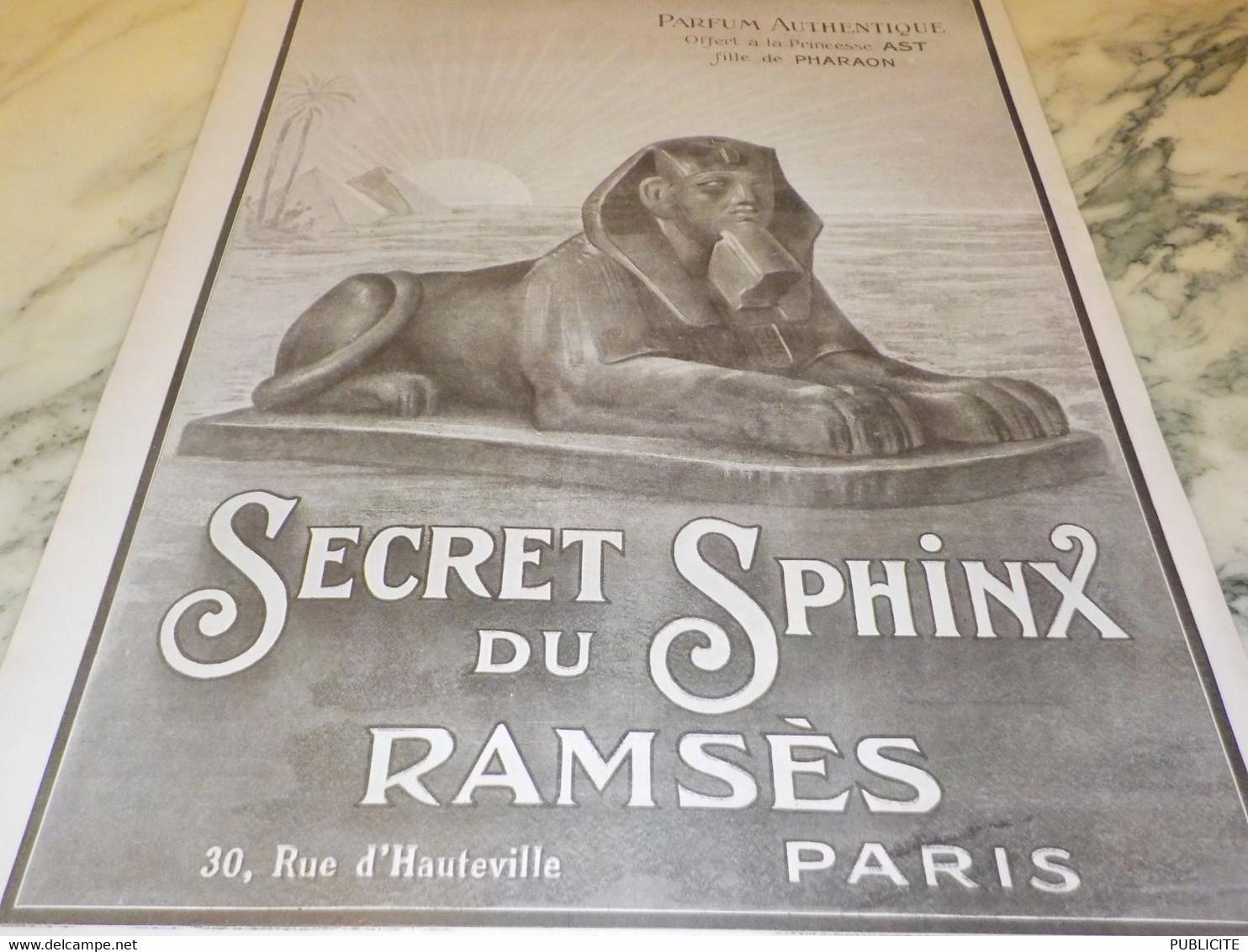 ANCIENNE PUBLICITE PARFUM SECRET DU SPHINX  DE RAMSES   1919 - Publicités