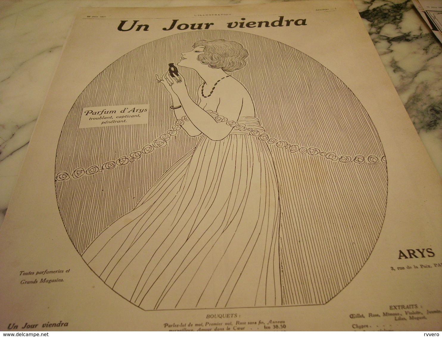 ANCIENNE PUBLICITE PARFUM UN JOUR VIENDRA ARYS 1919 - Publicités