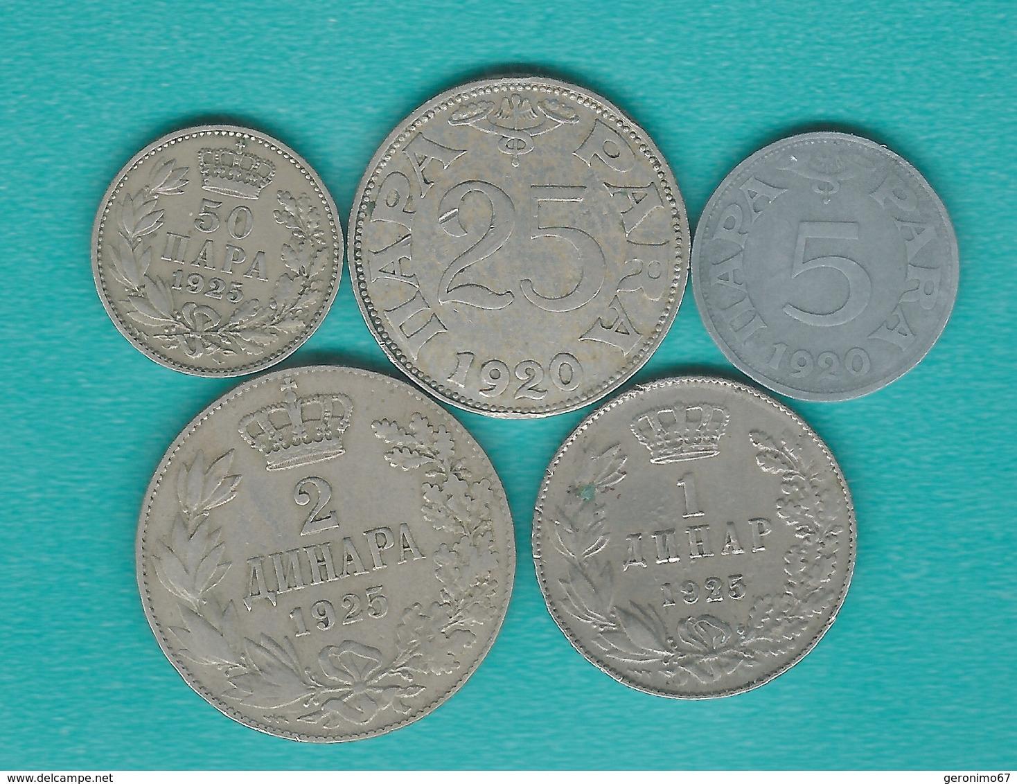 Kingdom Of Serbs, Croats & Slovenes - 1920 - 5 & 25 Para; 1925 - 50 Para, 1 & 2 Dinars (KMs 1, 3-6) - Serbie