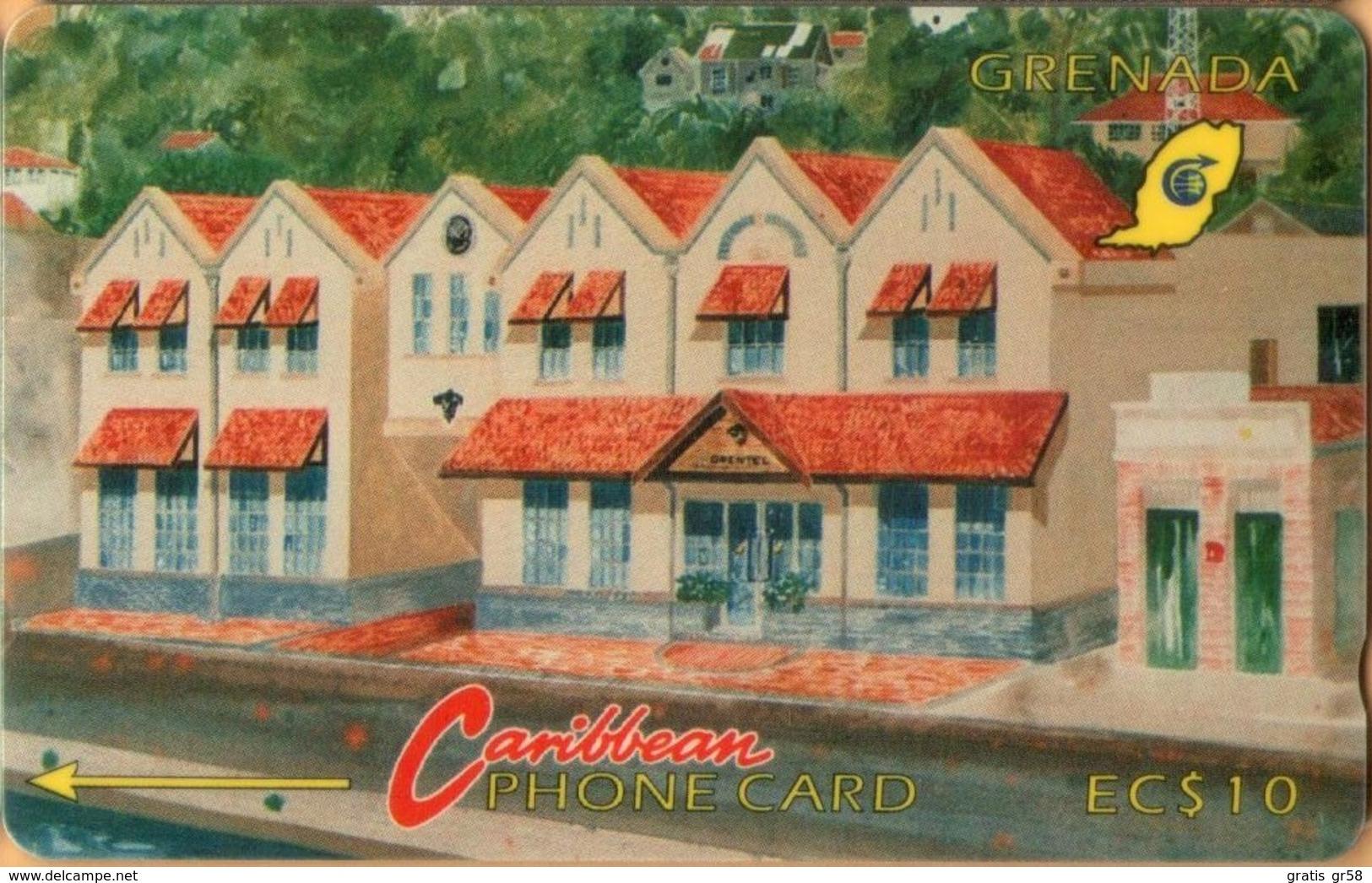 Grenada - GPT, GRE-4B, Grentel Building (Without Logo), 4CGRB, 10 EC$, Buildings, 5,250ex, 1992, Used As Scan - Grenada