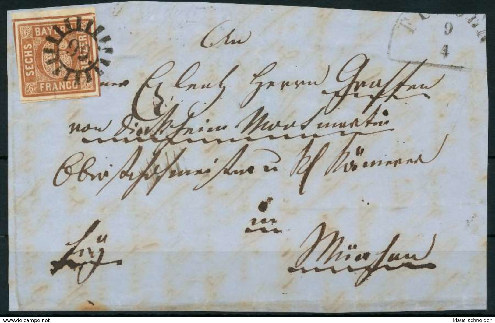 BAYERN QUADRATE Nr 4II GMR -99 Zentrisch Gestempelt Briefstück BR X8842EE - Bayern