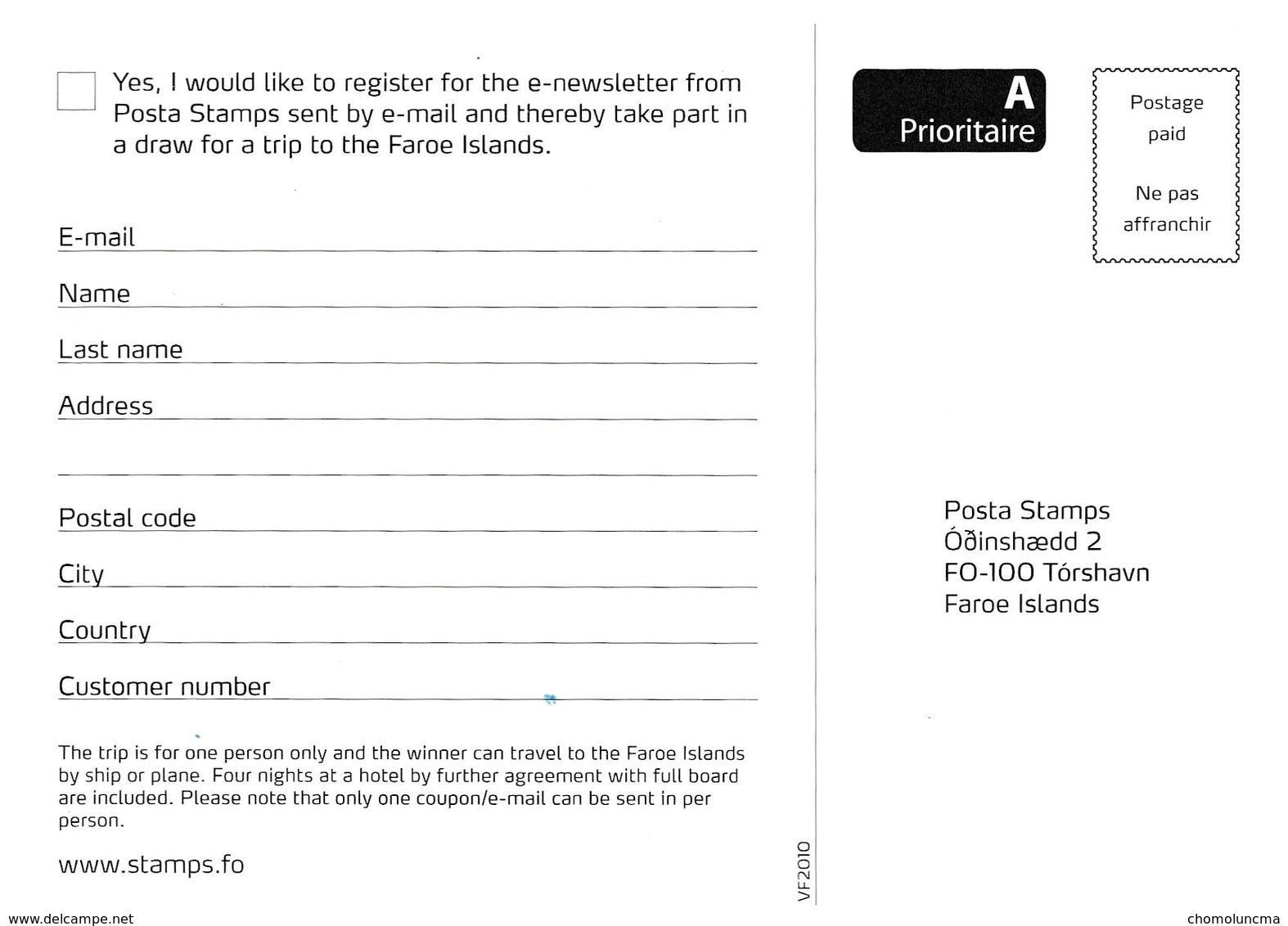 Carte Postale Service Philatélique Des Iles Féroé Faroes Philatelic Service Post Card Mountain Sea View Vue De Montagne - Färöer