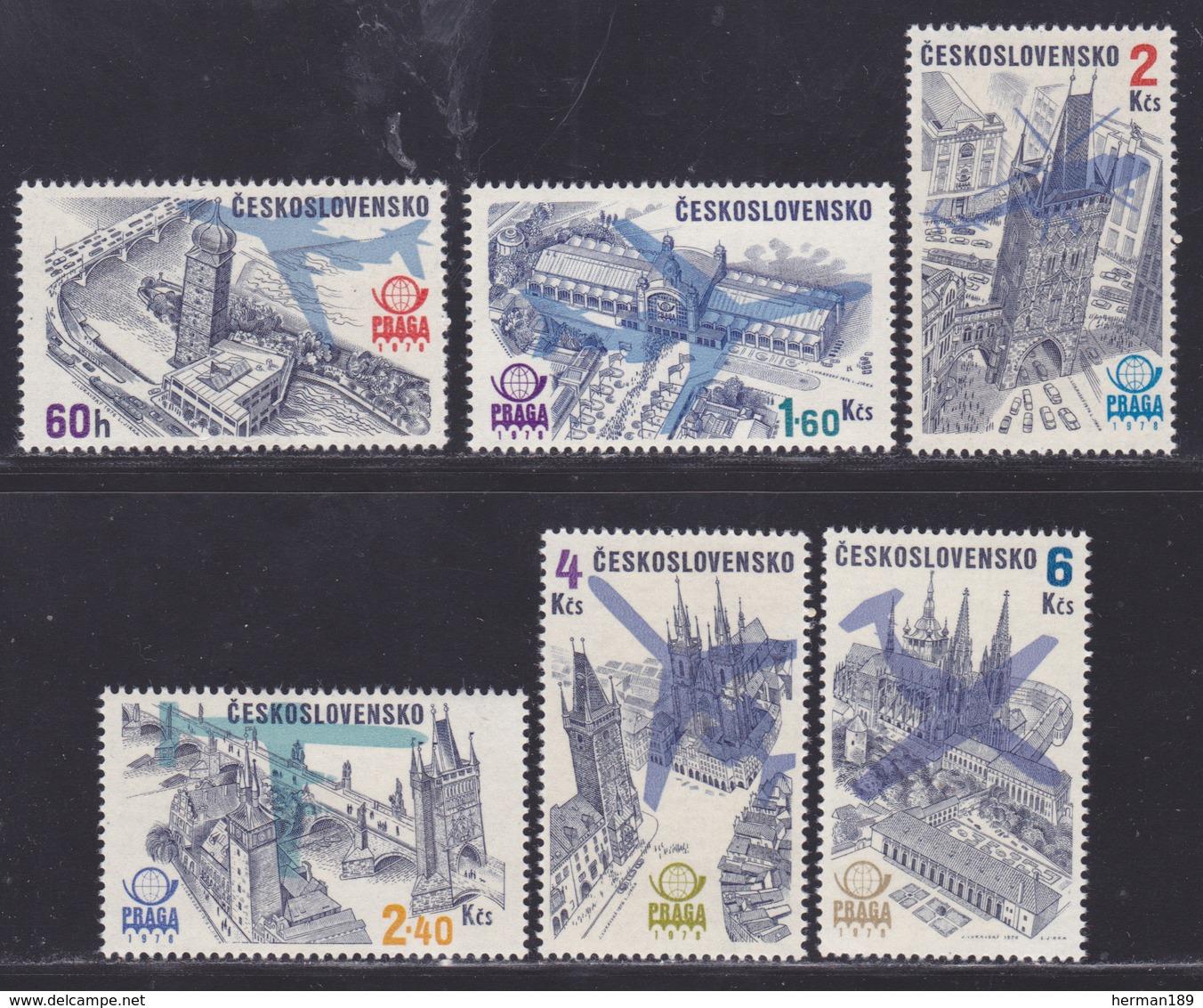 TCHECOSLOVAQUIE AERIENS N°   72 à 77 ** MNH Neufs Sans Charnière, TB (D8158) Exposition Philatélique, Praga 78 - 1976 - Corréo Aéreo