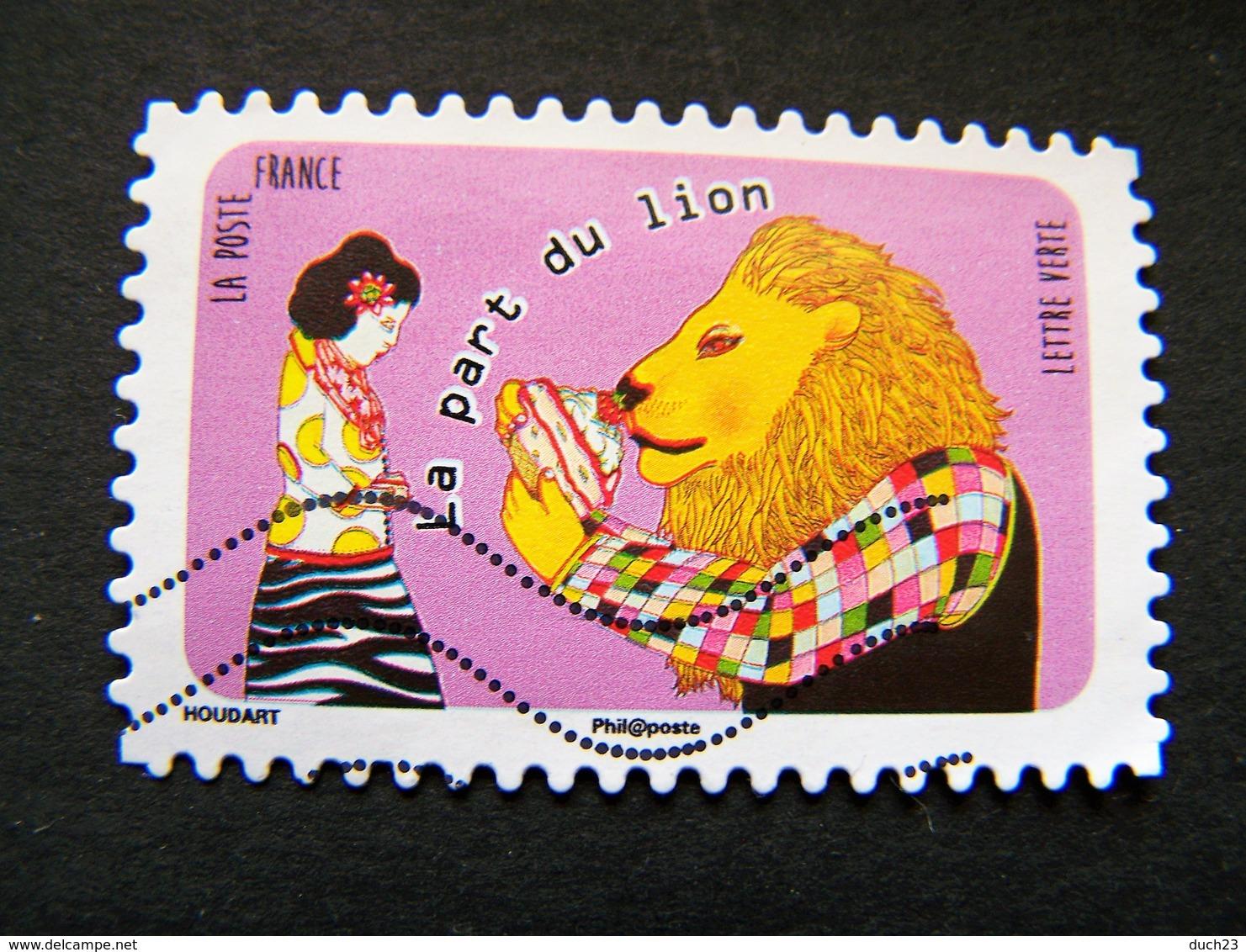 N°1317 LA PART DU LION OBLITERE ANNEE 2016 SERIE DU CARNET LANGUE FRANCAISE AUTOCOLLANT ADHESIF - France