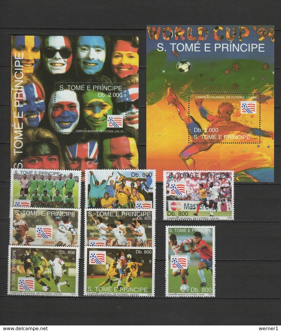 Sao Tome E Principe (St. Thomas & Prince) 1993 Football Soccer World Cup Set Of 8 + 2 S/s MNH - World Cup