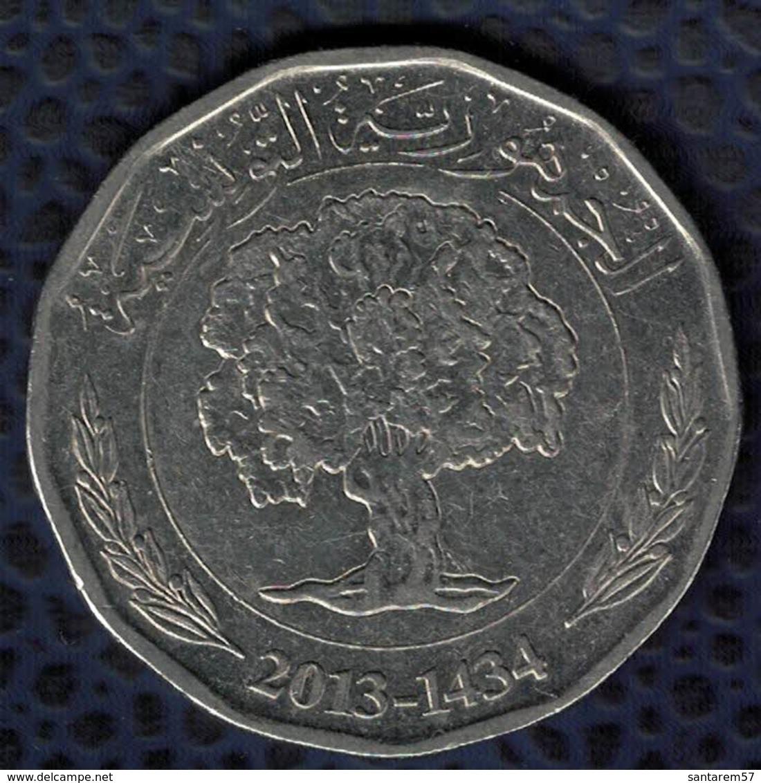 Tunisie 2013 Pièce De Monnaie Coin 2 Dinars Tunisiens Arbre 2013 - 1434 SU - Tunisie