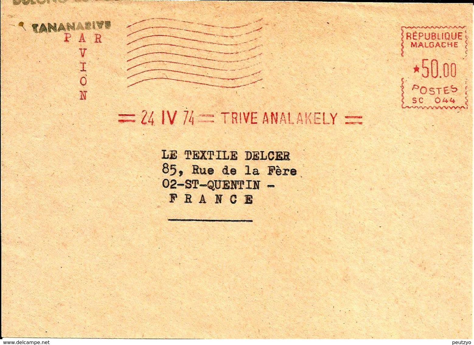 EMA SATAS SC 044 Republique Malgache  1974   A76/1 - Postmark Collection (Covers)