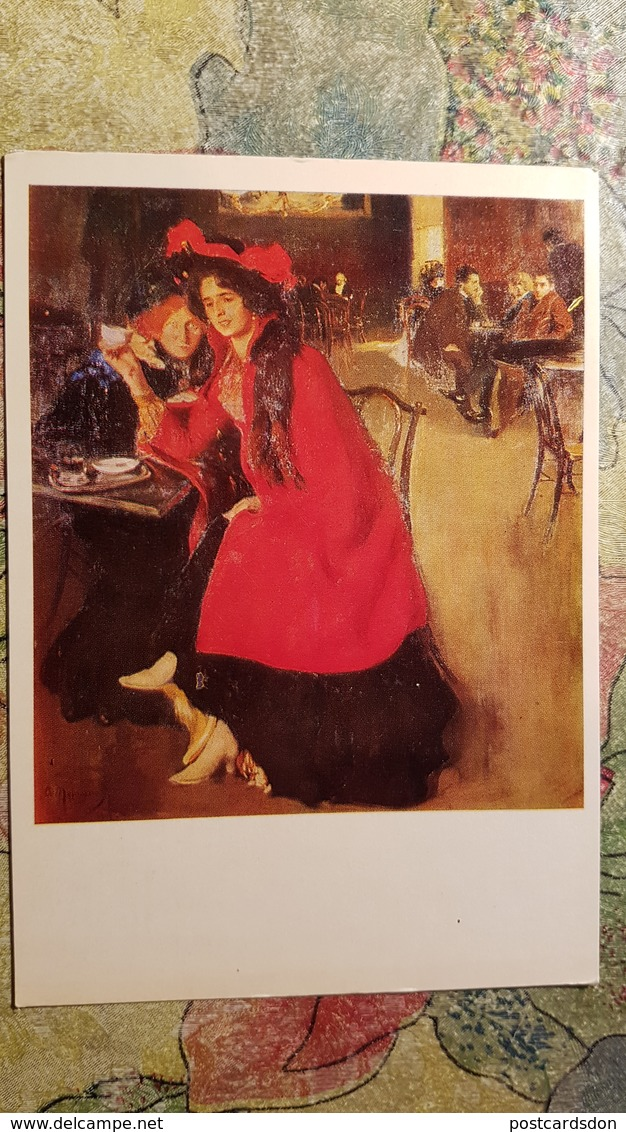 "JEU - ECHECS - CHESS  In Art - Old Postcard 1980s - Odessa Art Museum- ""In A Cafe"" By Murashko - Echecs"