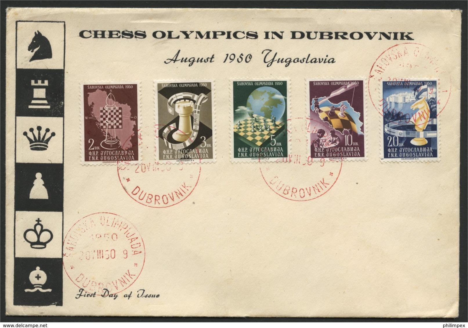 YUGOSLAVIA,  CHESS OLYMPICS IN DUBROVNIK FDC 1950 - Schaken
