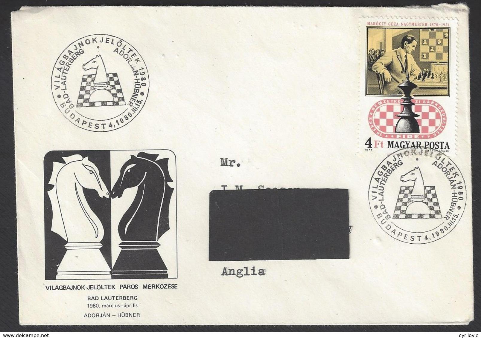 Chess, Hungary Budapest, 15.03.1980, Special Cancel & Cachet On Envelope, Adorjan V Hubner Match - Schaken