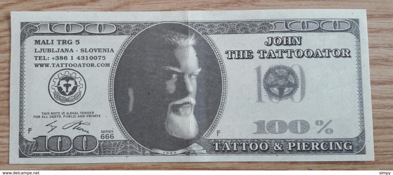 100 Dollars Fantasy Money Pins Up Sexi Woman Tatoo & Piercing - Billets