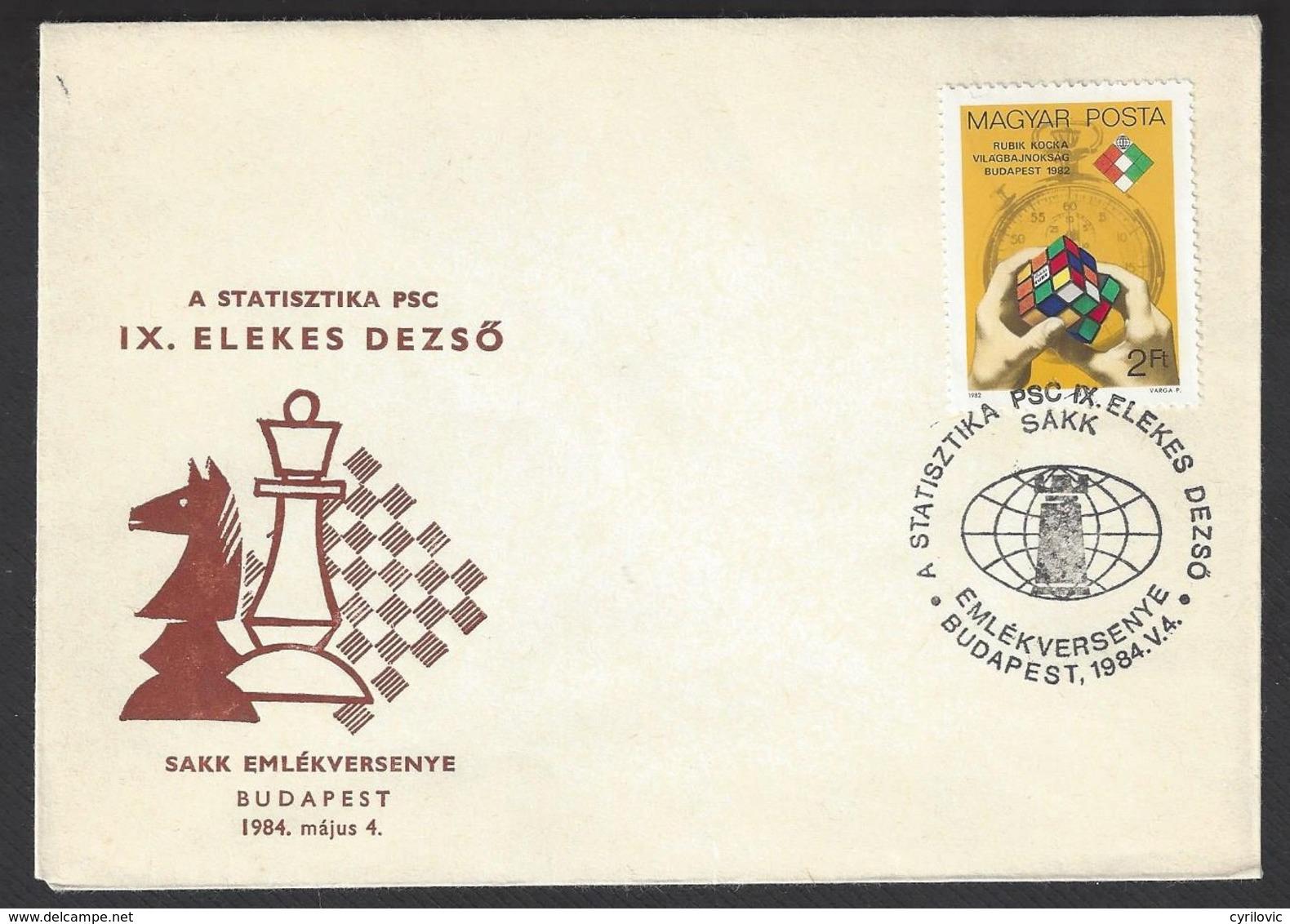 Chess, Hungary Budapest, 04.05.1984, Special Cancel & Cachet On Envelope, International Tournament - Schaken