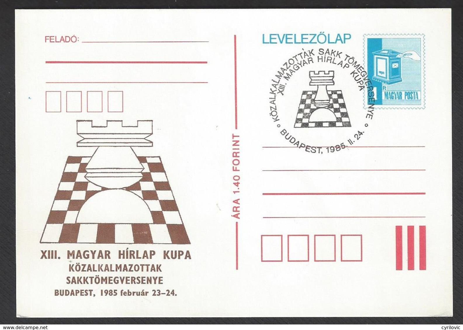 Chess, Hungary Budapest, 24.02.1985, Special Cancel & Cachet On Card, Hirlap Cup - Schaken