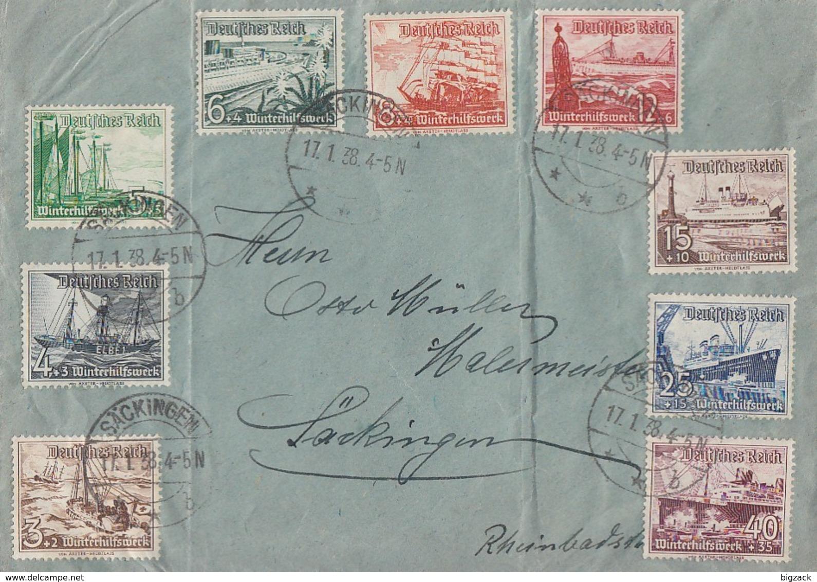 DR Brief Mif Minr.651-659 Säckingen 17.1.38 - Deutschland