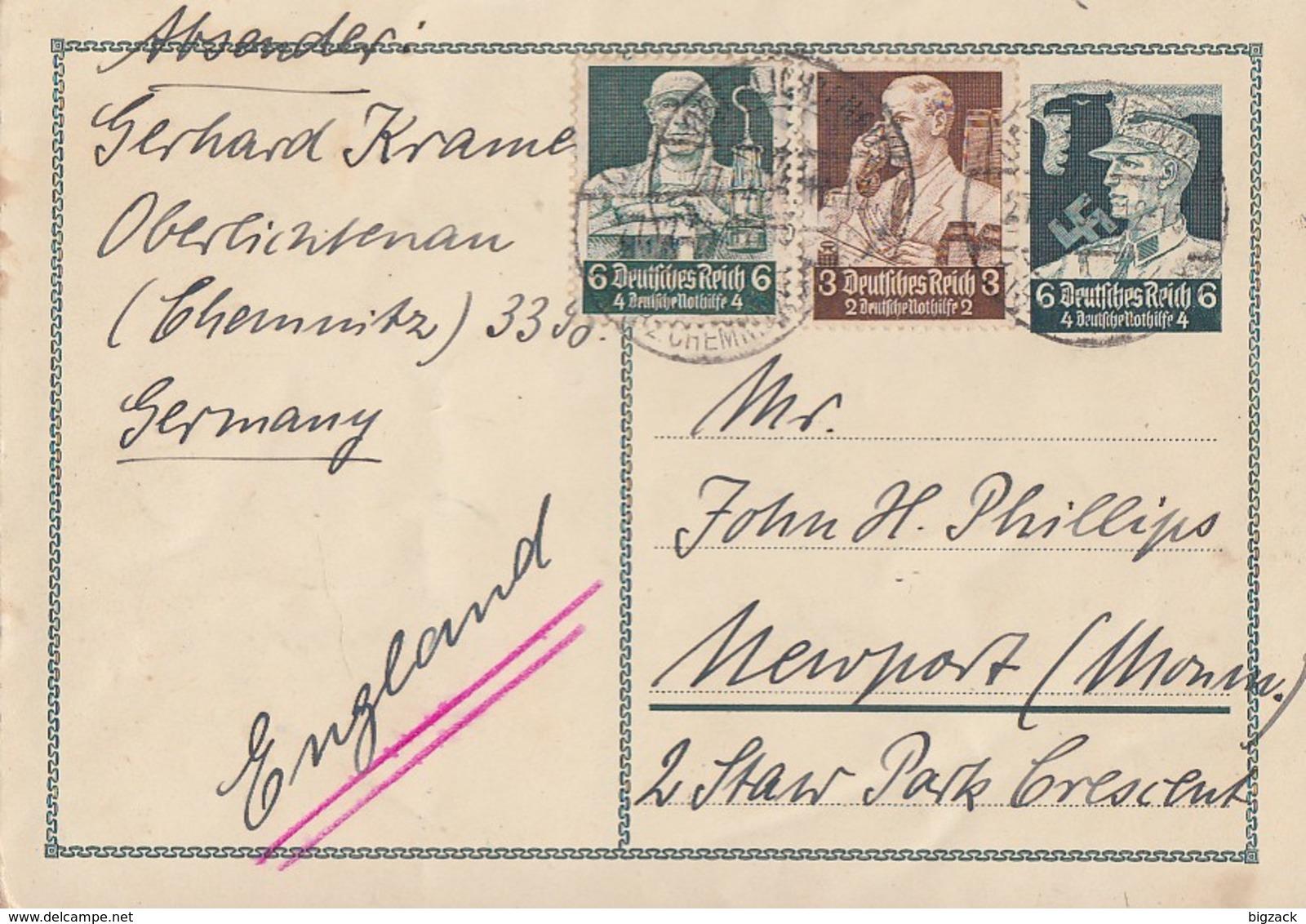 DR Ganzsache Minr. P253 Zfr. Minr.556,559 Oberlichtenau Gel. Nach England - Deutschland