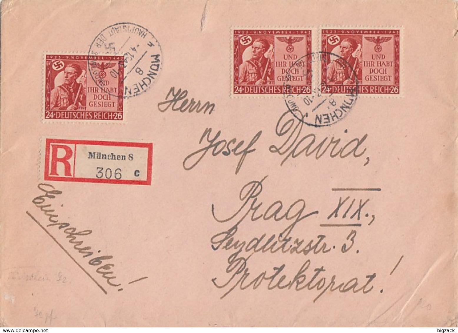DR R-Brief Rückschein Mef Minr.3x 863 München 4.12.43 Gel. Nach Prag - Deutschland