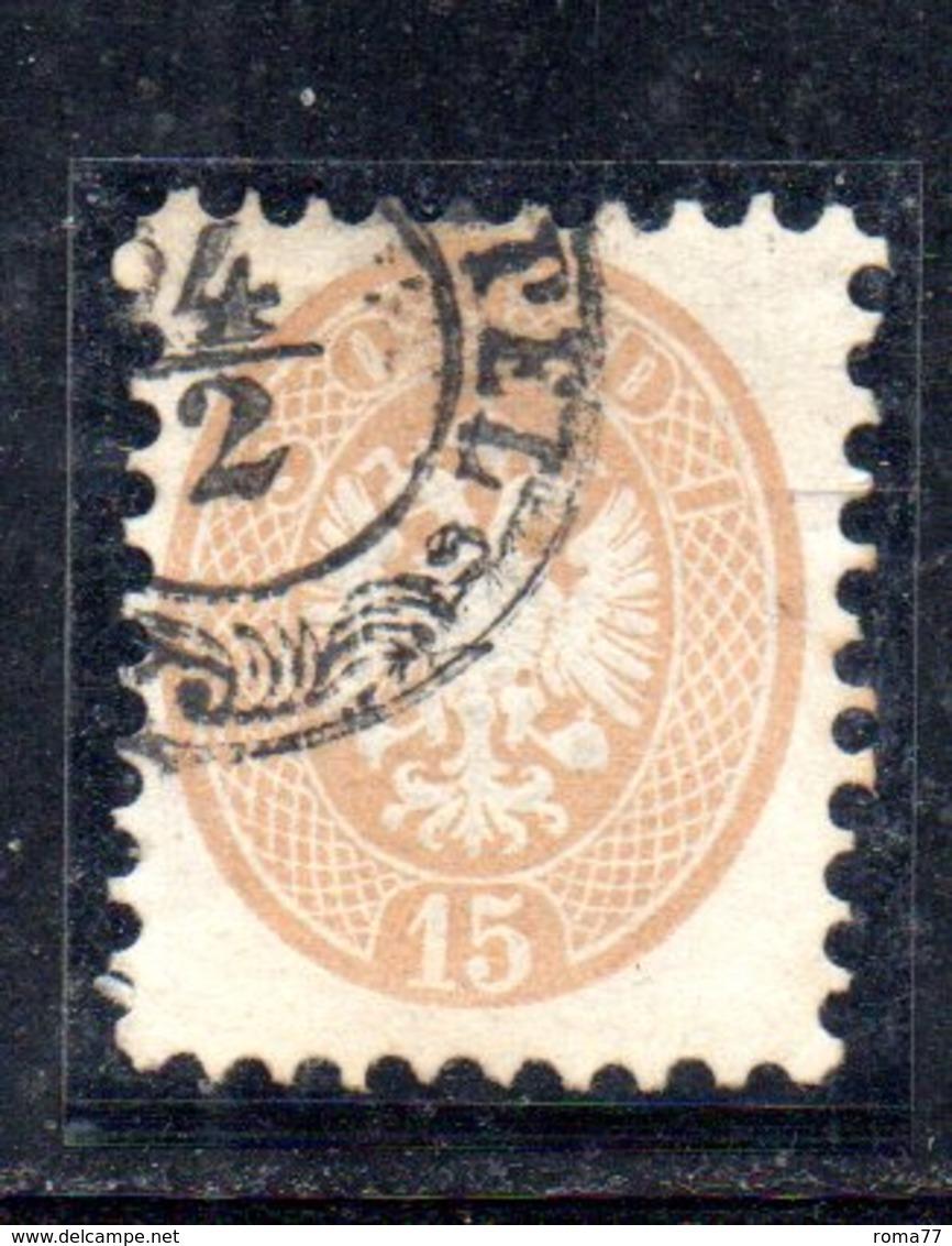 ASI18a - LOMBARDO VENETO 1864, Il 15 Soldi  Usato N. 45 Dent 11 - Lombardo-Veneto