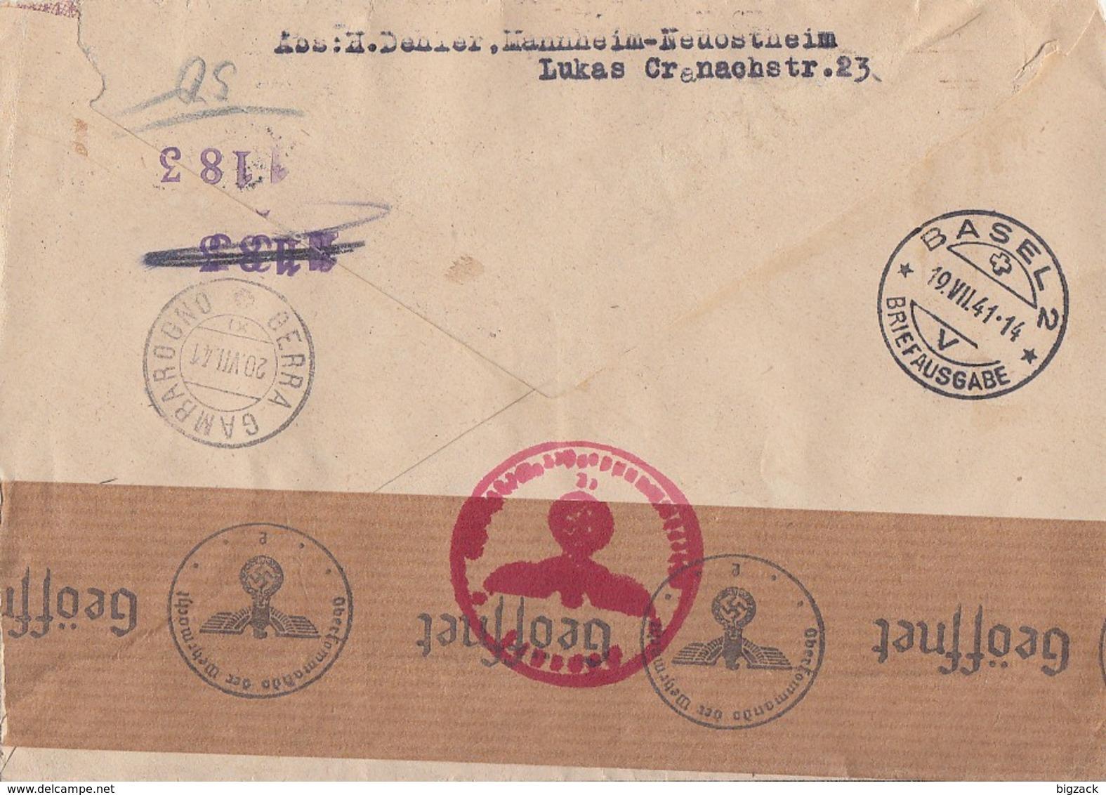 DR R-Brief Mif Minr.514,515,768-771 Mannheim-Waldhof 16.7.41 Gel. In Schweiz Zensur - Deutschland