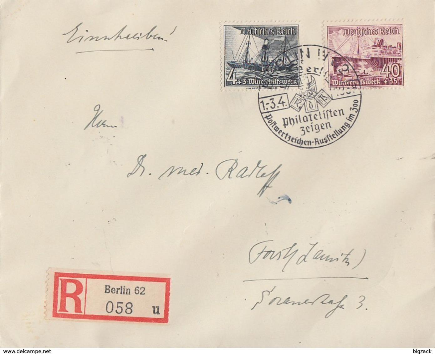 DR R-Brief Mif Minr.652,659 SST Berlin 1.-3.4.38 PWZ Austellung Am Zoo - Deutschland