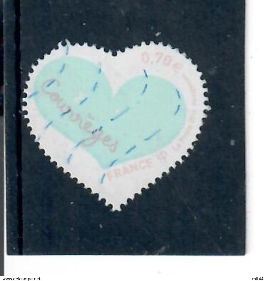 Yt 5029 St Valentin Coeur Courreges Inscription Couleur Orange - France