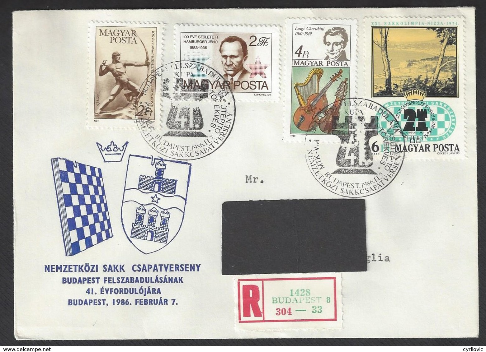 Chess, Hungary Budapest, 07.02.1986, Special Cancel & Cachet On Envelope - Schaken