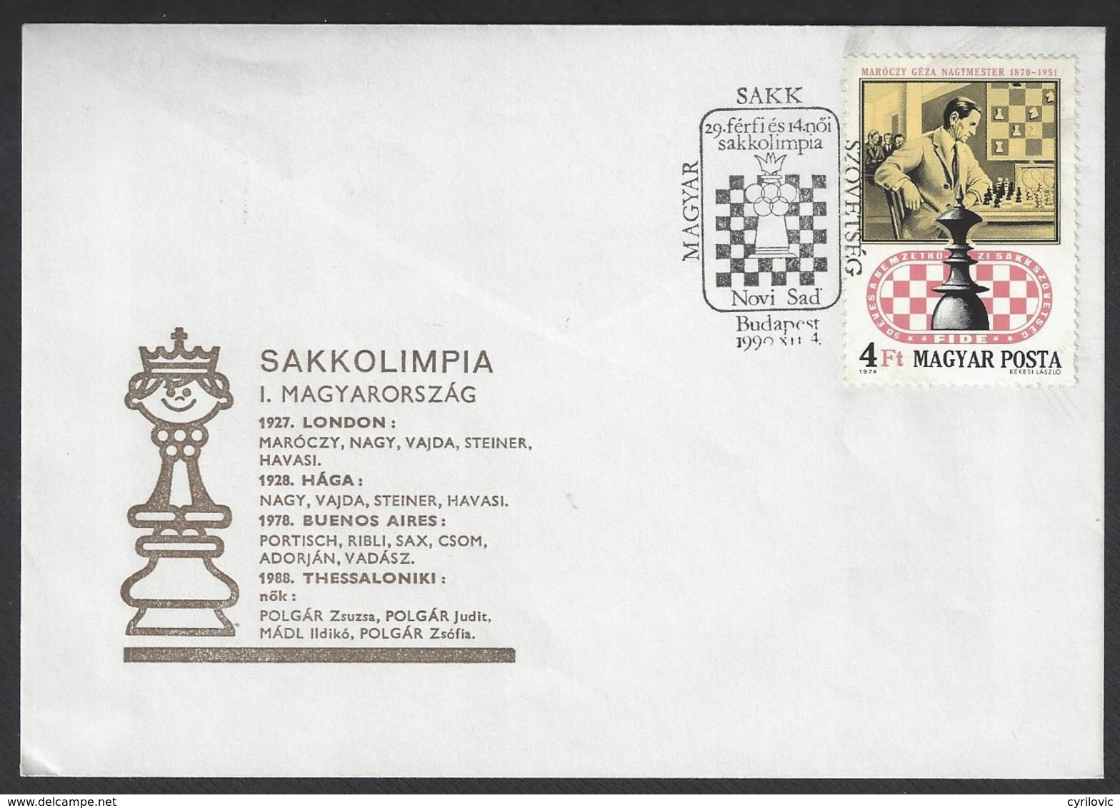 Chess, Hungary Budapest, 04.12.1990, Special Cancel & Cachet On Envelope, Hungary At 29th Olympiad In Novi Sad - Schaken
