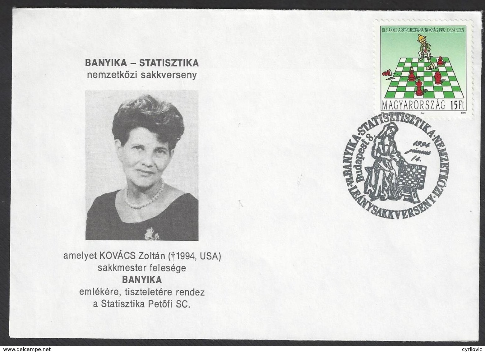 Chess, Hungary Budapest, 14.06.1994, Special Cancel On Envelope - Schaken