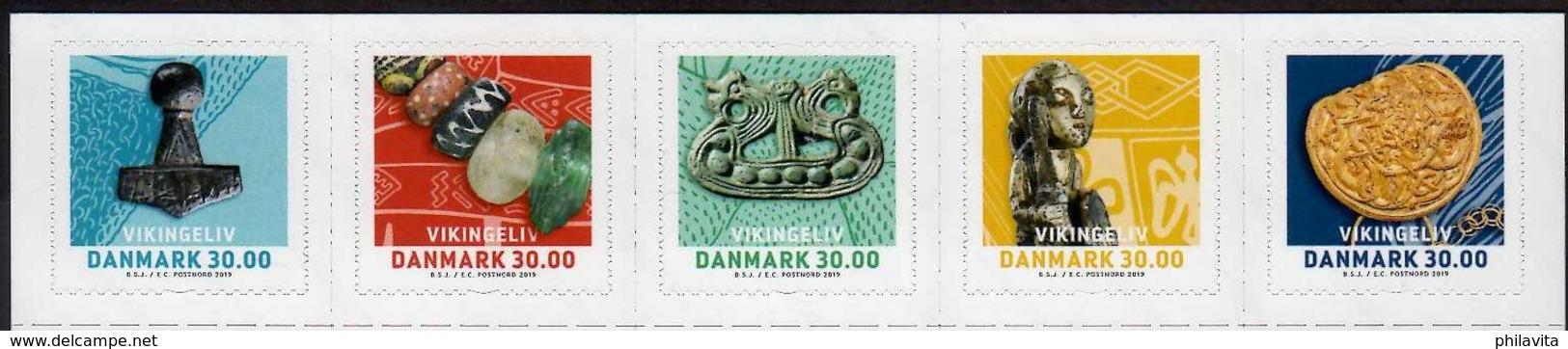 2019 Denmark -Archeology - Viking Treasures In Dannish Soil - Set Of 5 V MNH** Coints,  Cloth, Juwelery, Sword - Archäologie