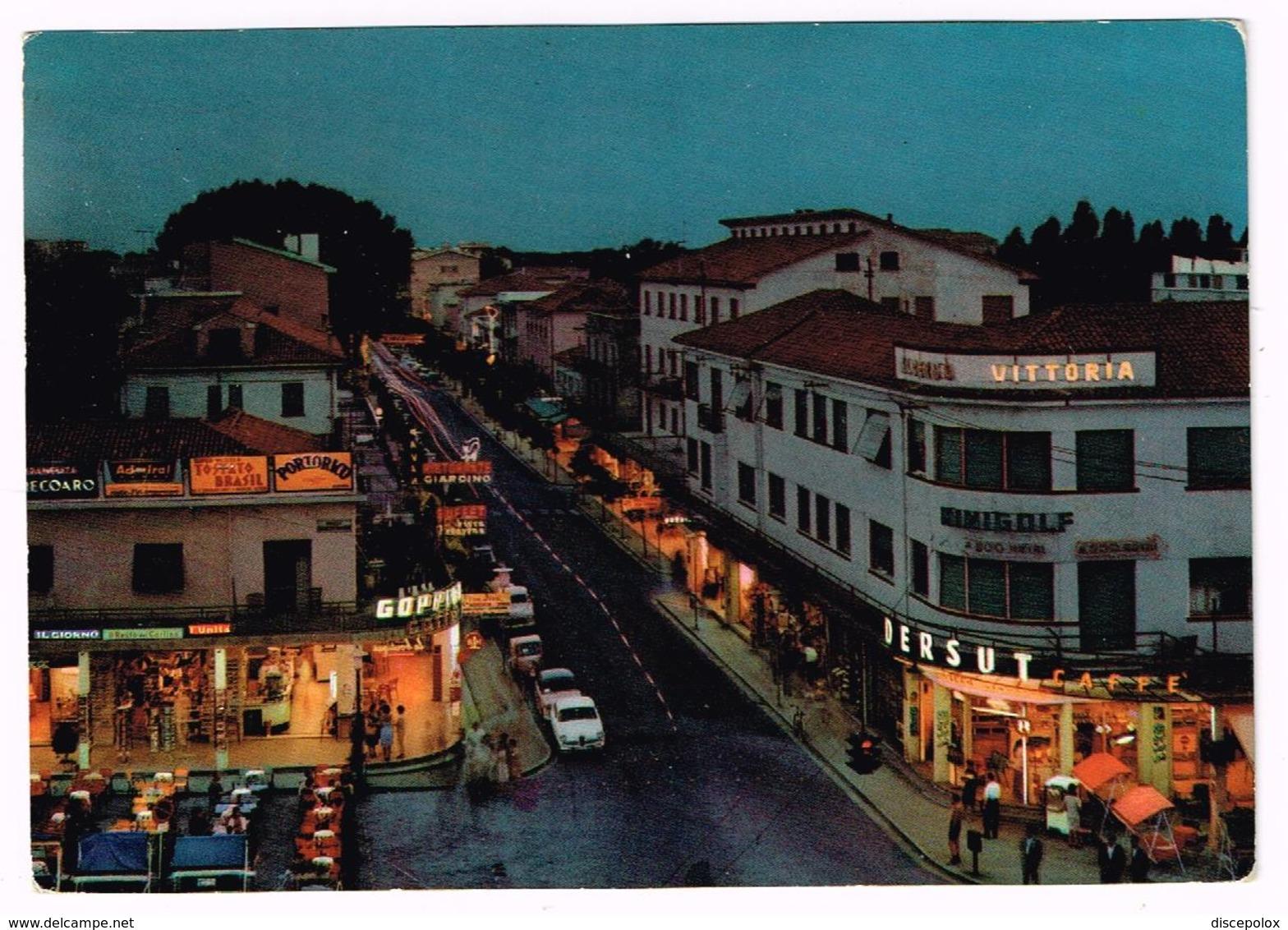 V3692 Lido Di Jesolo (Venezia) - Centro Di Notte - Auto Cars Voitures - Notturno Night Nuit Nacht Noche / Viaggiata 1964 - Altre Città