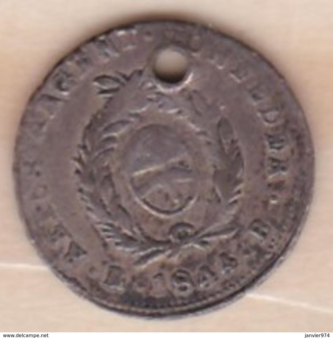 Argentina LA RIOJA 1/2 Real 1844 B , KM# 18 , En Argent - Argentine