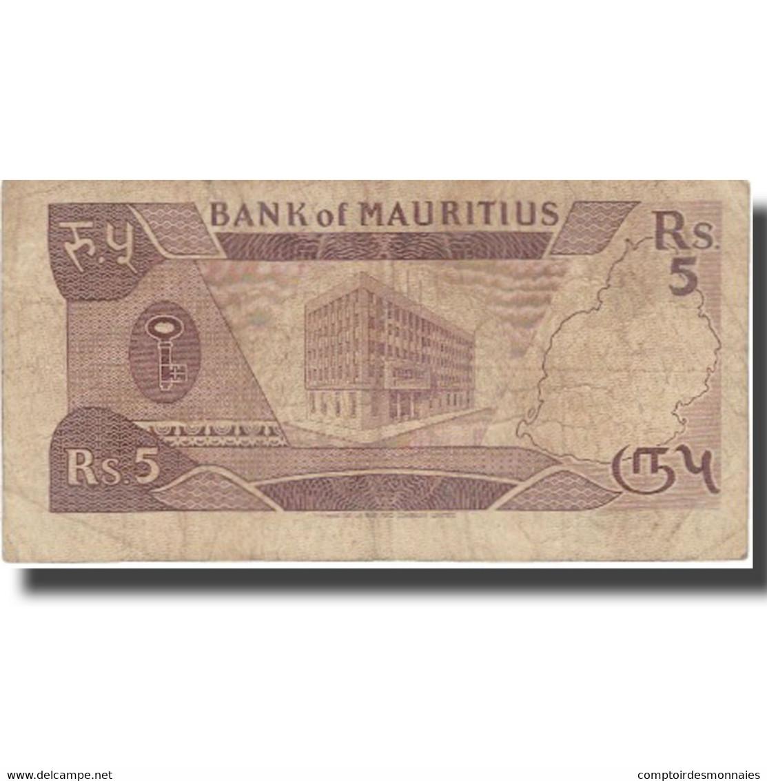 Billet, Mauritius, 5 Rupees, KM:34, TB - Maurice