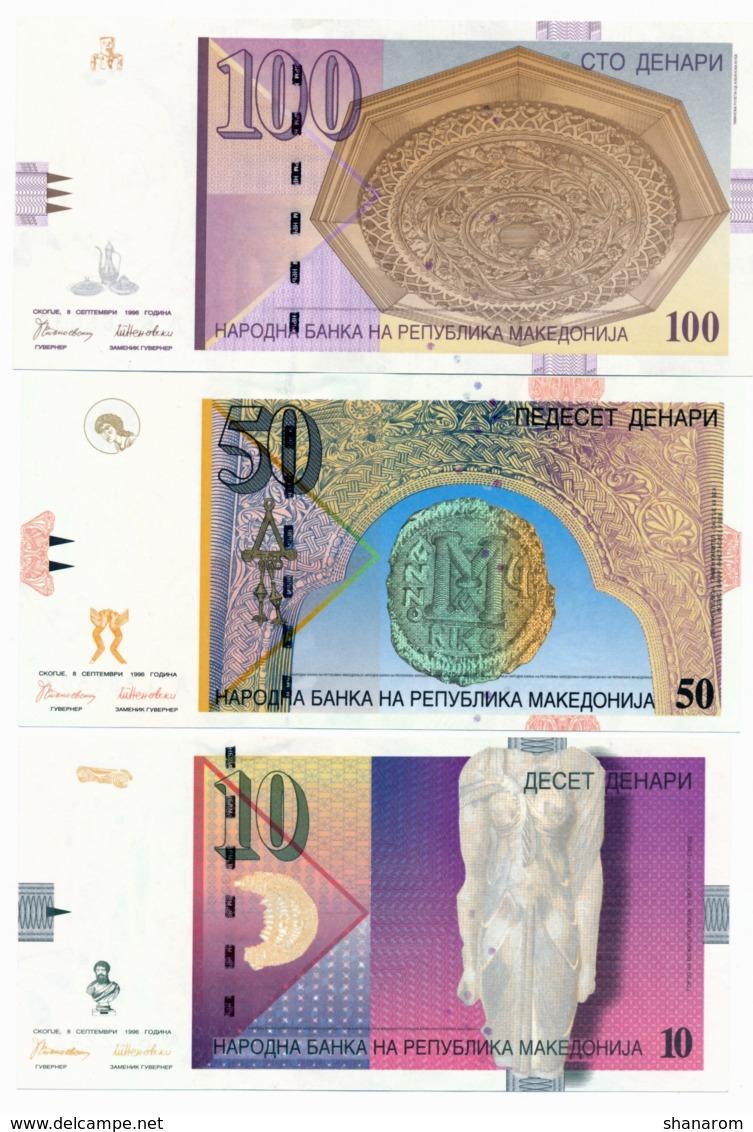 1996 // MACEDOINE // Commemorative Bill // 10 & 50 & 100 Denari // SPL/AU - Macédoine
