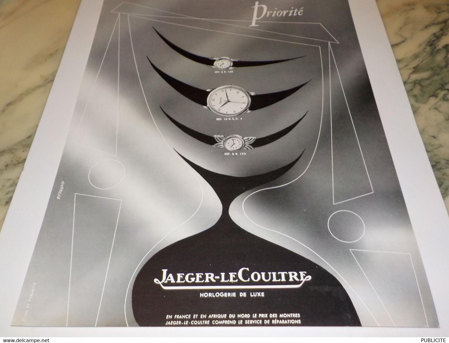 ANCIENNE PUBLICITE PRIORITE MONTRE JAEGER LE COULTRE  1953 - Autres