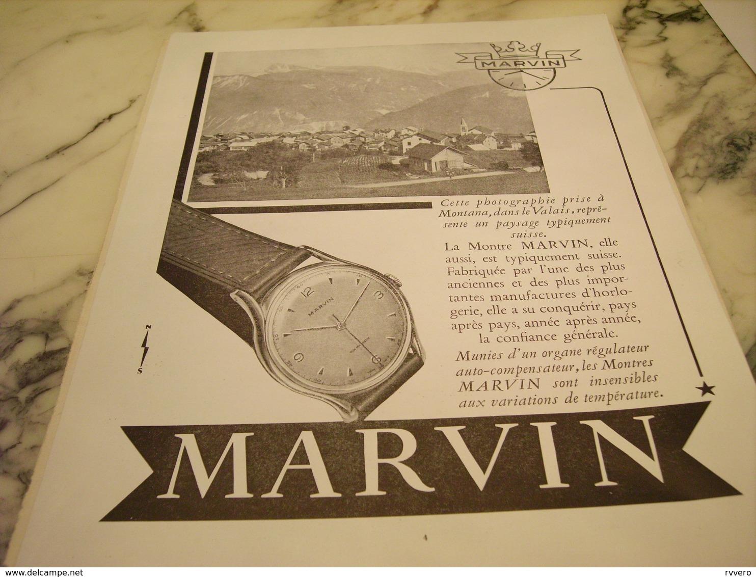 ANCIENNE PUBLICITE MONTRE MARVIN 1951 - Autres