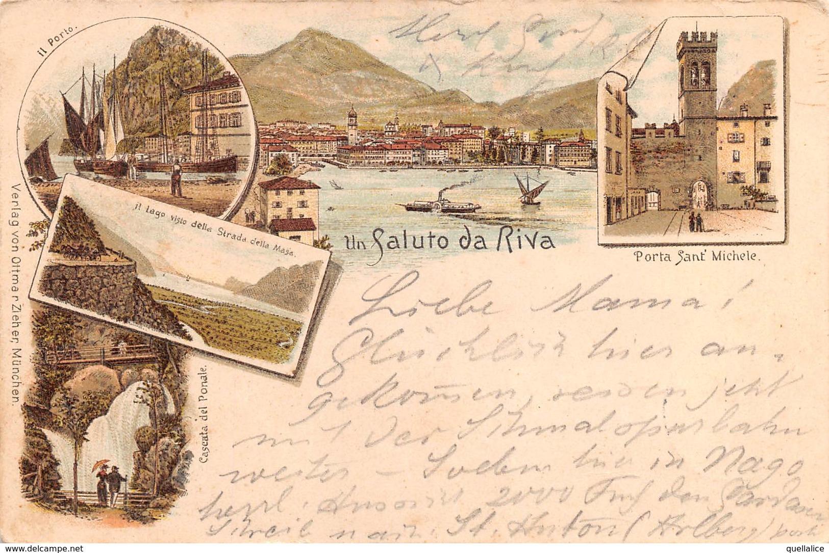 """0775  """"(TN) UN SALUTO DA RIVA"""" NR. 5 VEDUTE, ANIMATA.  CART  SPED 1893 - Trento"""