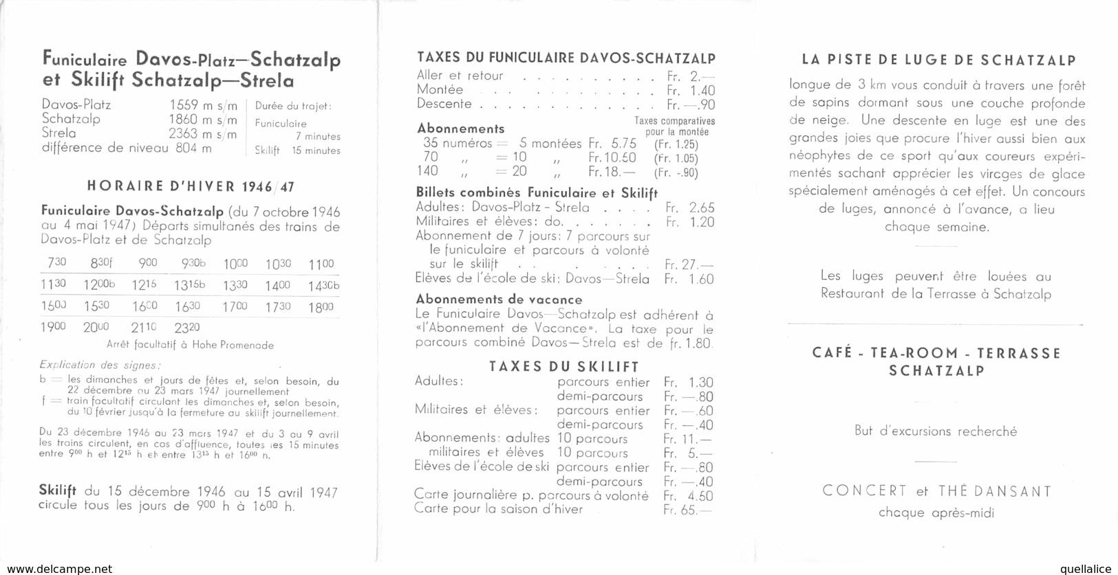 """0782  """"SVIZZERA - FUNICOLARE DOVOS - PLATZ..... ORARI INVERNO 1946/1947"""" VEDUTE, ANIMATO. PUBBL. ORIG. - Europe"""