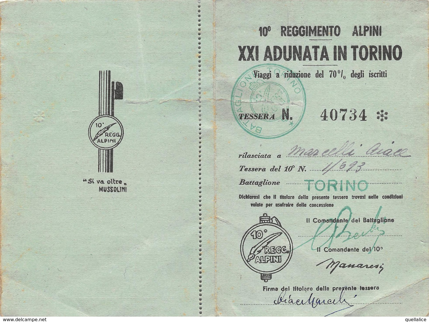 """0785  """"TORINO - 10° REGGIMENTO ALPINI - XXI ADUNATA IN TORINO - TESSERA NR. 40734 - ANNO 1940 - TAGLIANDO FS"""" ORIG. - Chemins De Fer"""