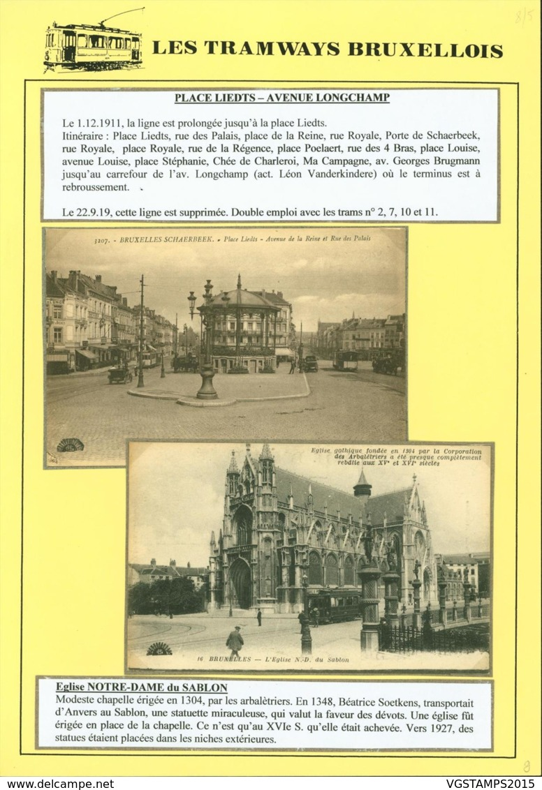 """BELGIQUE CP TRAMWAYS BRUXELLOIS """"PLACE LIEDTS """" + DESCRIPTIF (DD) DC-1429 - Autres"""