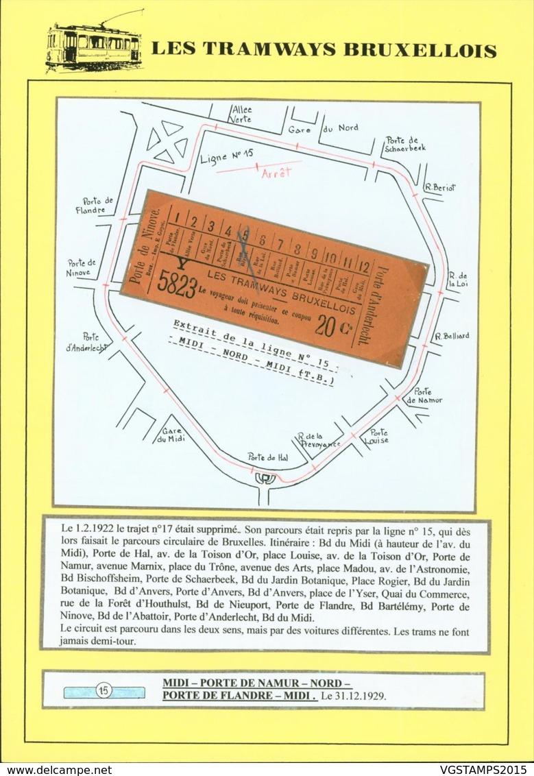 BELGIQUE CP TRAMWAYS BRUXELLOIS TICKET DE TRAM + DESCRIPTIF (DD) DC-1437 - Belgium