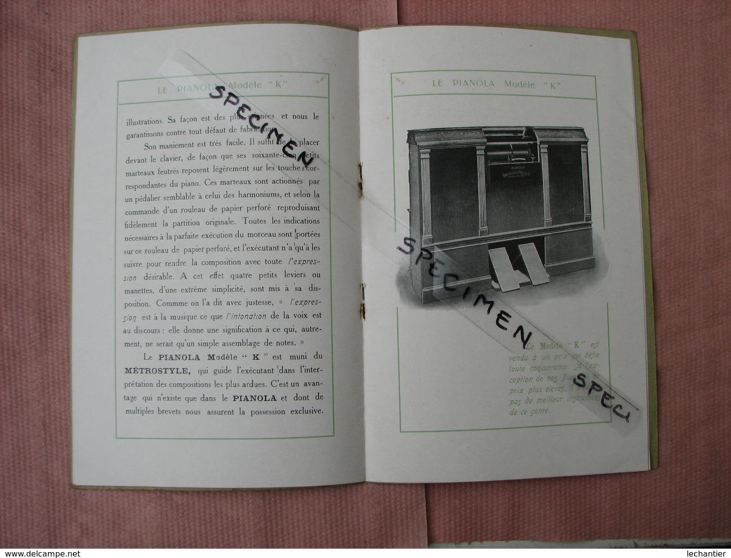 LE PIANOLA Modéle K 1908 Catalogue Tarif Vantant Les Avantages Du Pianola  TBE - Instrumentos De Música