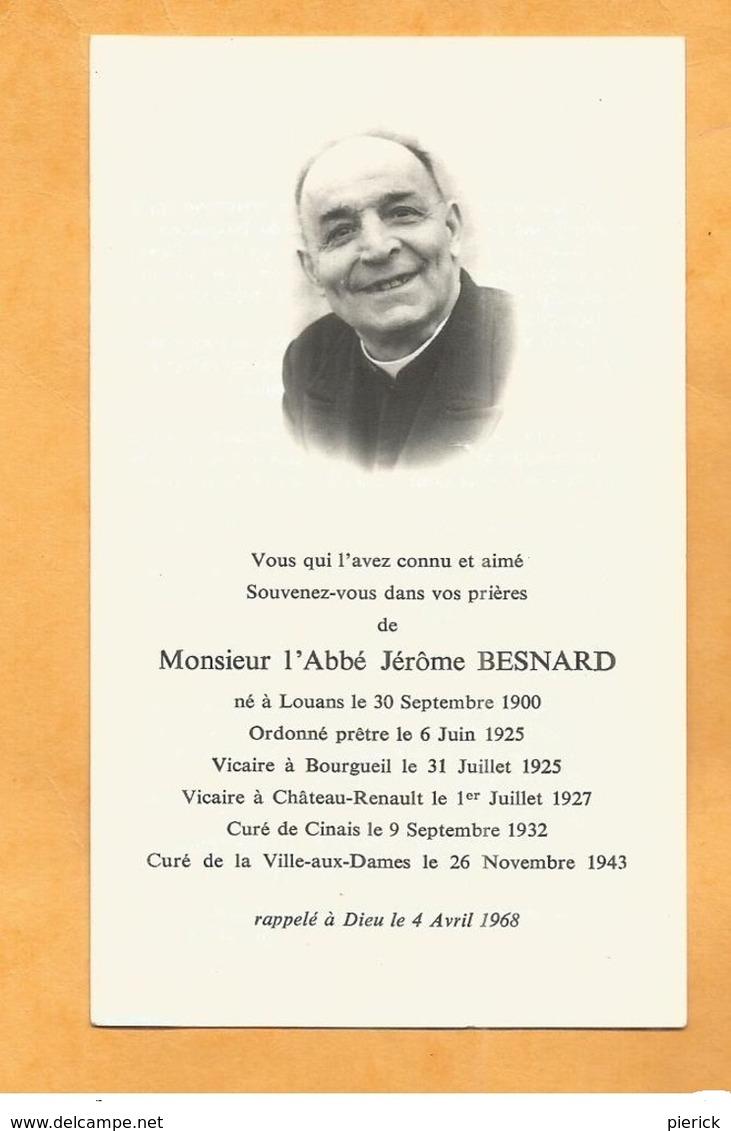IMAGE GENEALOGIE FAIRE PART AVIS DECES CARTE MORTUAIRE ABBE BESNARD LOUANS BOURGUEIL CINAIS  CHATEAU RENAULT 1900 1968 - Décès