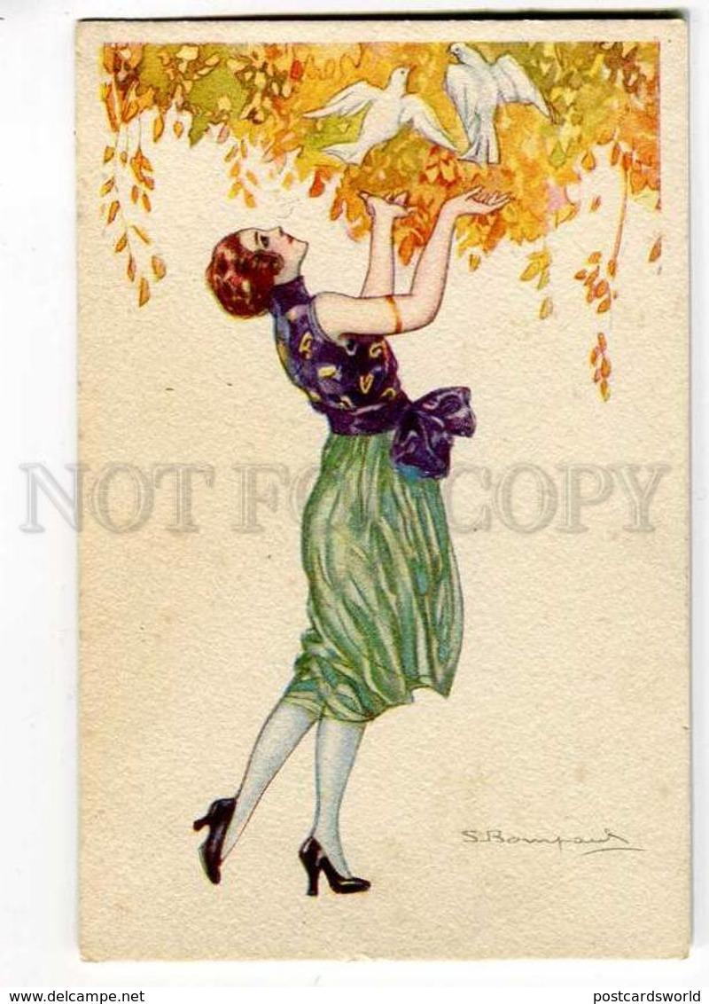 257144 FASHION Lady W/ PIGEON By BOMPARD Vintage ART DECO PC - Bompard, S.