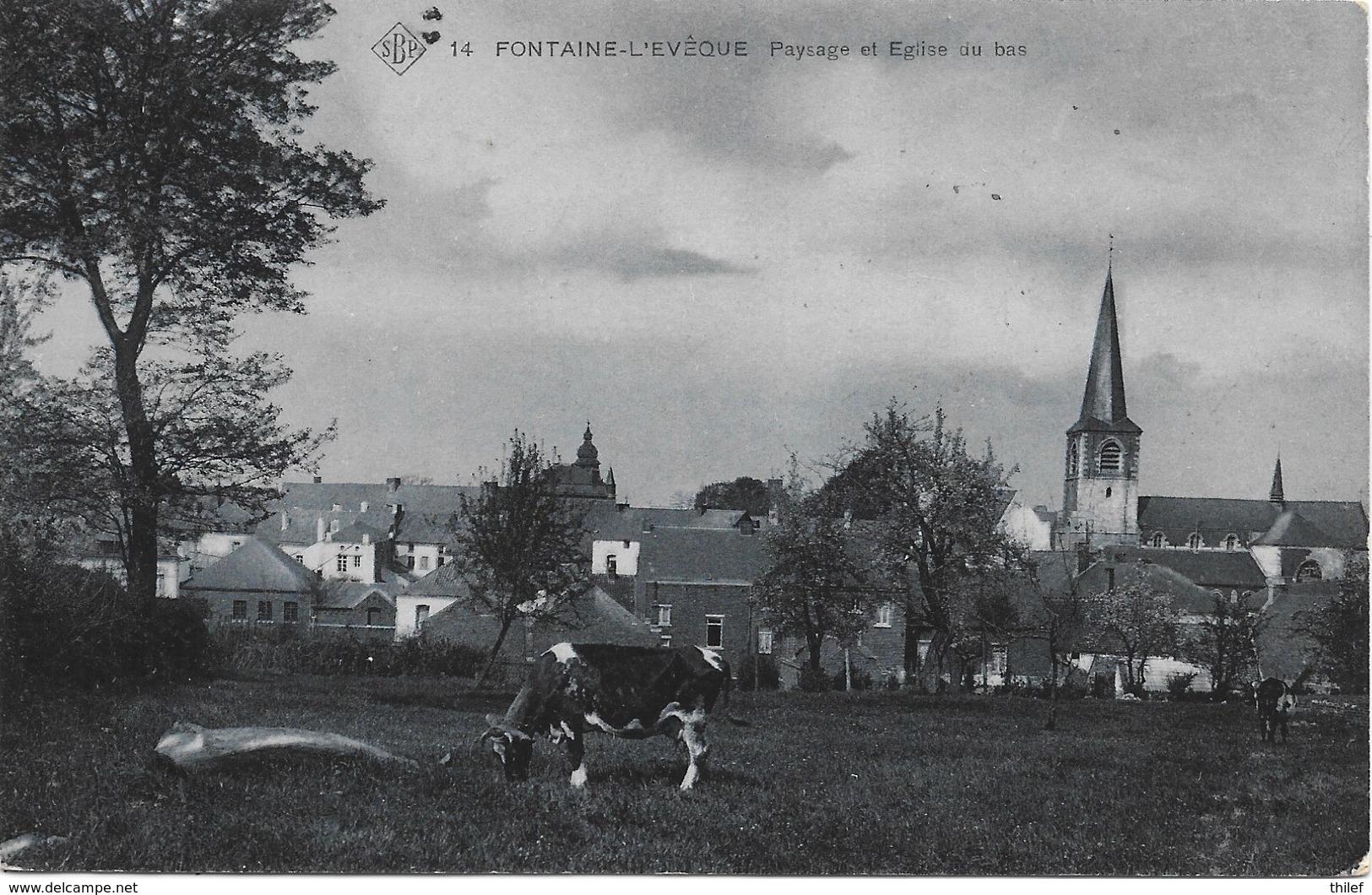 Fontaine-l'Evêque NA62: Paysage Et Eglise Du Bas 1909 ( SBP 14 ) - Fontaine-l'Evêque