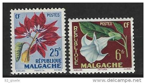 "Madagascar YT 336 Et 337 "" Fleurs "" 1958 Neuf** - Madagascar (1960-...)"