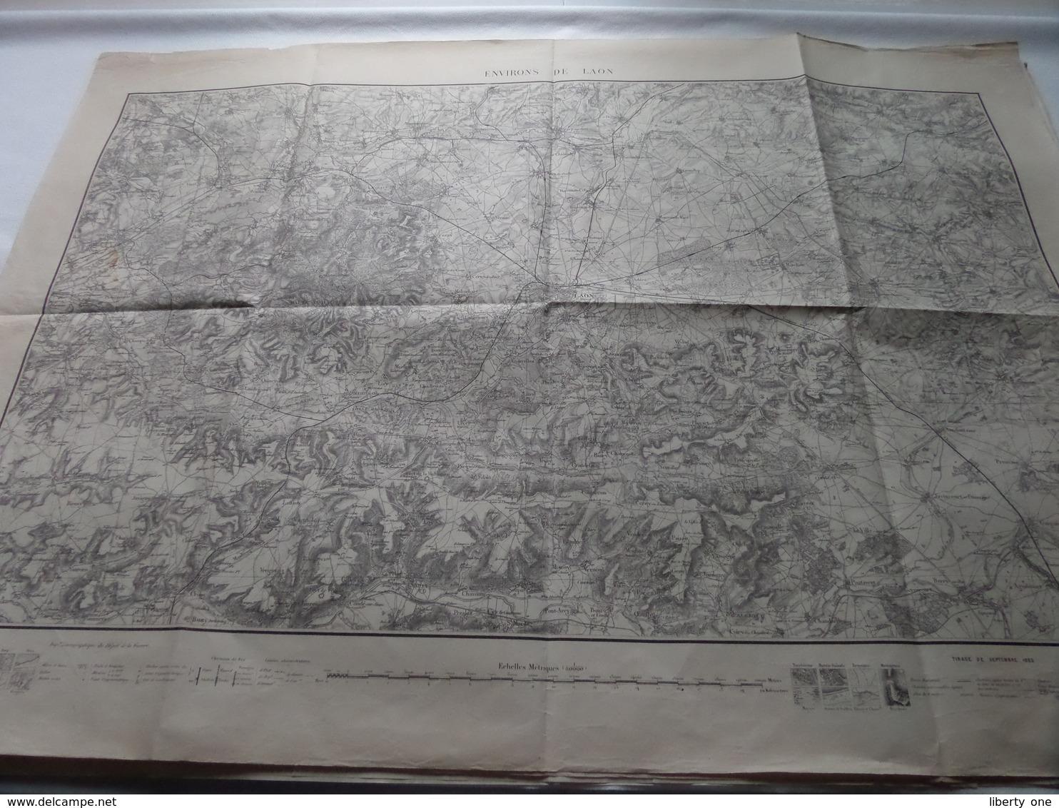 Environ De LAON - Tirage Sept 1883 - Schaal / Echelle / Scale 1: 80.000 - Imp Zincographique ( Voir / Zie Photo) - Geographical Maps
